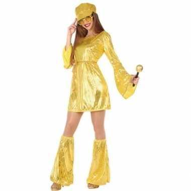 Gouden disco verkleed pak/verkleedkleding voor dames