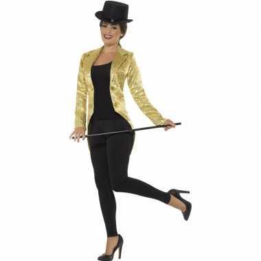 Gouden slipjas met pailletten verkleed verkleedkleding/jas voor dames
