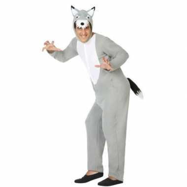 Grijze wolf dieren verkleed verkleedkleding/onesie voor volwassenen
