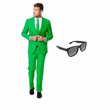 Groen heren verkleedkleding maat 52 (xl) met gratis zonnebril