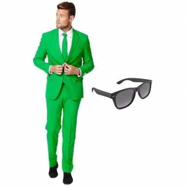 Groen heren verkleedkleding maat 54 (xxl) met gratis zonnebril
