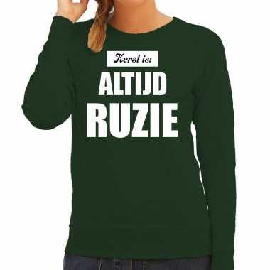 Groene foute kersttrui / sweater kerst is: altijd ruzie verkleedkleding dames