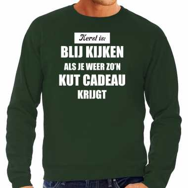 Groene foute kersttrui / sweater kerst is blij kijken / kut cadeau verkleedkleding heren