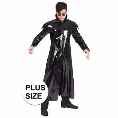 Grote maat 90s verkleedkleding gothic lakleren jas voor volwassenen