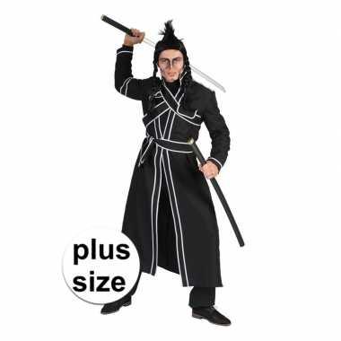 Grote maat zwart samoerai verkleed verkleedkleding voor heren