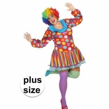 Grote maten clown verkleed jurk/verkleedkleding voor dames