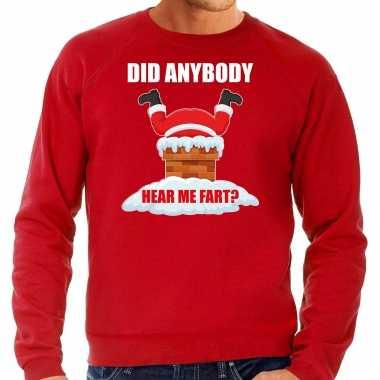 Grote maten foute kersttrui / verkleedkleding did anybody hear my fart rood voor heren