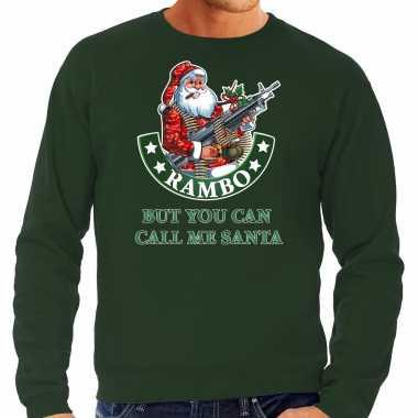 Grote maten foute kersttrui / verkleedkleding rambo but you can call me santa groen voor heren
