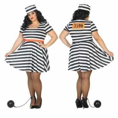 Grote maten gevangene/boef bonnie verkleed verkleedkleding voor dames