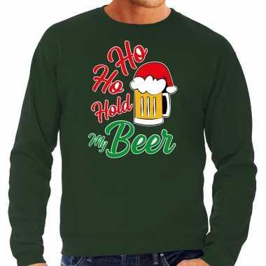 Grote maten ho ho hold my beer fout kersttrui / verkleedkleding groen voor heren