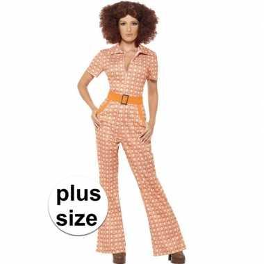 Grote maten oranje jaren 70 verkleedkleding voor dames