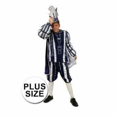 Grote maten prins verkleedkleding blauw/wit