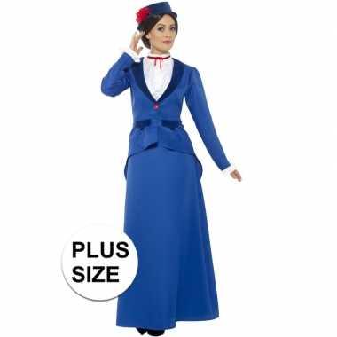 Grote maten victoriaanse kinderjuffrouw verkleedkleding voor dames