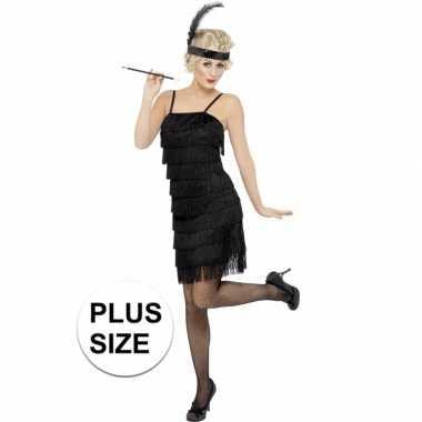 Grote maten zwart flapper jaren 20 verkleedkleding voor dames