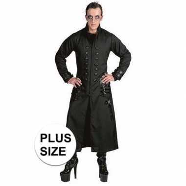 Grote maten zwarte gothic/vampier jas verkleedkleding voor heren