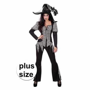 Halloween grote maat zwart/wit heksen verkleedkleding voor dames