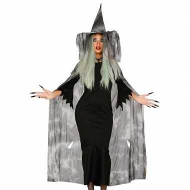 Halloween heksencape halloween verkleedkleding met hoed voor dames