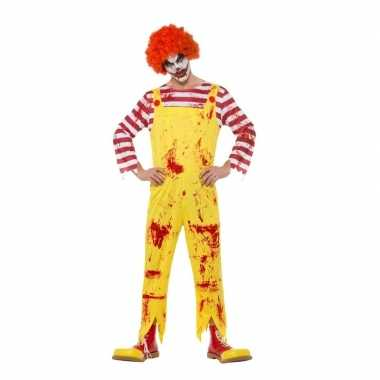 Halloween horror clown verkleedkleding rood/geel voor heren