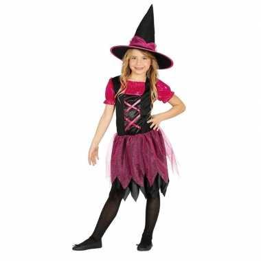 Halloween zwart/roze heksen verkleedkleding voor meisjes