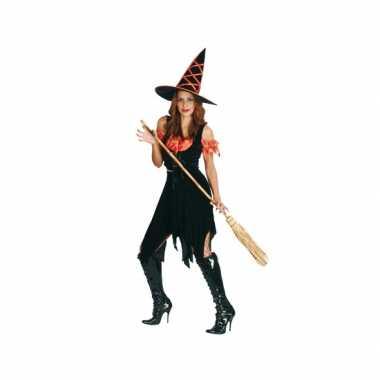 Heksen verkleedkleding zwart oranje