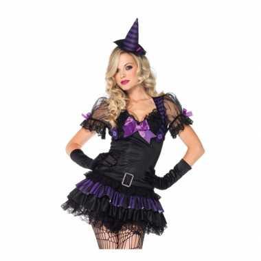 Heksen verkleedkleding zwart/paars voor dames