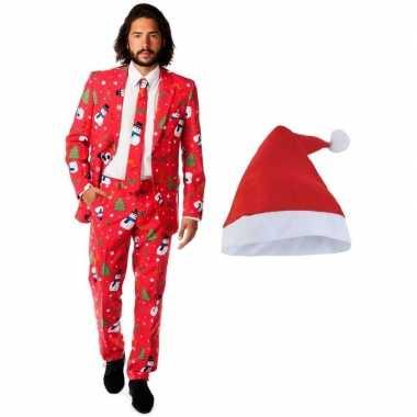 Heren opposuits kerst verkleedkleding rood met kerstmuts maat 52 (xl)