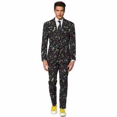 Heren verkleed pak/verkleedkleding disco print