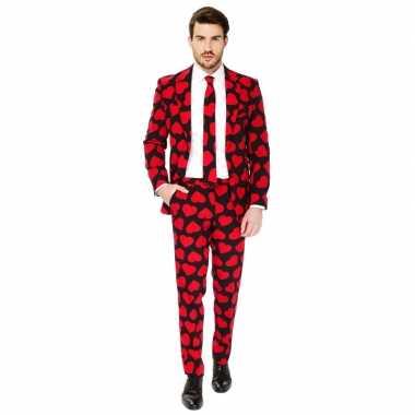 Heren verkleed pak/verkleedkleding rode hartjes print