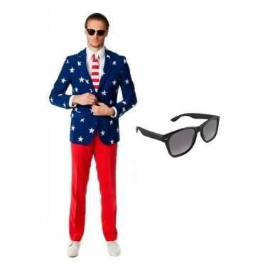 Heren verkleedkleding met amerikaanse vlag print maat 50 (l) met grat