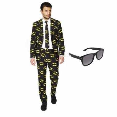 Heren verkleedkleding met batman print maat 50 (l) met gratis zonnebr