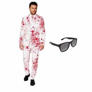 Heren verkleedkleding met bloed print maat 48 (m) met gratis zonnebri