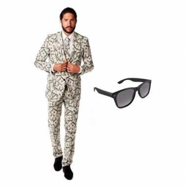 Heren verkleedkleding met dollar print maat 50 (l) met gratis zonnebr