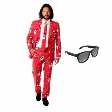 Heren verkleedkleding met kerst print maat 48 (m) met gratis zonnebri