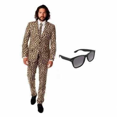 Heren verkleedkleding met luipaard print maat 54 (2xl) met gratis zon
