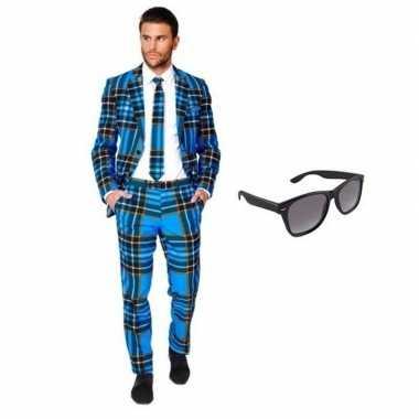 Heren verkleedkleding met schotse print maat 50 (l) met gratis zonneb