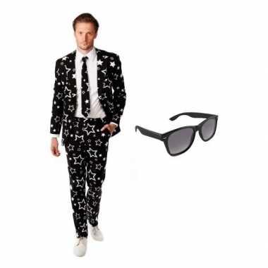 Heren verkleedkleding met sterren print maat 50 (l) met gratis zonneb