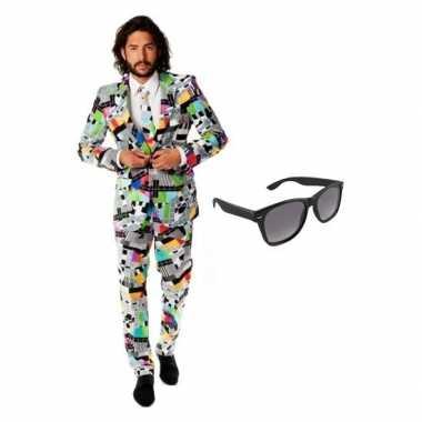 Heren verkleedkleding met televisie print maat 50 (l) met gratis zonn