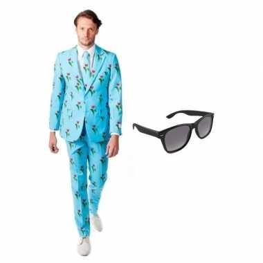 Heren verkleedkleding met tulpen print maat 48 (m) met gratis zonnebr