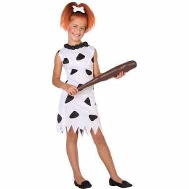 Holbewoonster/cavewoman wilma verkleed verkleedkleding/jurk voor meis