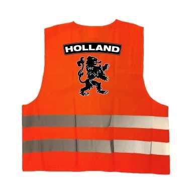 Holland fan hesje met zwarte leeuw ek / wk supporter verkleedkleding voor volwassenen