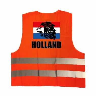 Holland vlag met leeuw oranje veiligheidshesje ek / wk supporter verkleedkleding voor volwassenen