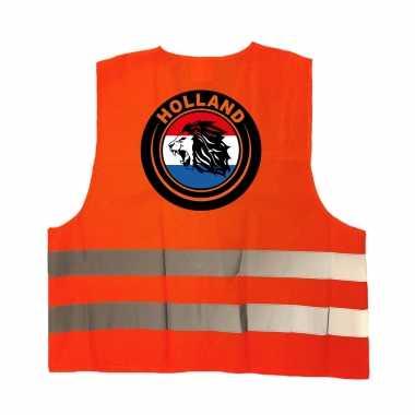 Hollandse leeuw veiligheidshesje oranje ek / wk supporter verkleedkleding voor volwassenen