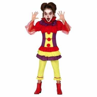 Horror clown penny verkleed verkleedkleding voor meisjes