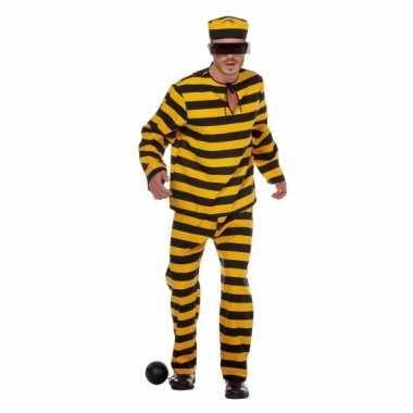 Inbreker verkleedkleding zwart/geel voor heren