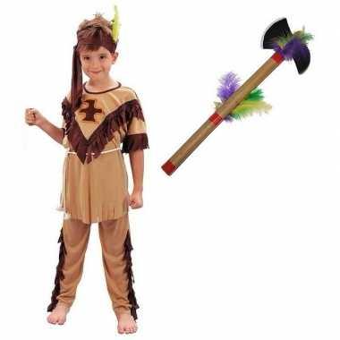 Indianen verkleedkleding maat m met tomahawk voor kinderen