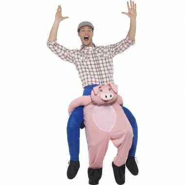 Instap dierenpak verkleedkleding varken voor volwassenen