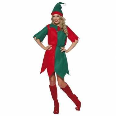 Kerst elf verkleedkleding rood/groen voor dames