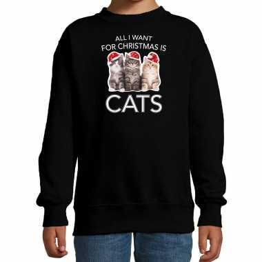 Kitten kerst sweater / verkleedkleding all i want for christmas is cats zwart voor kinderen