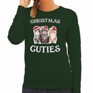Kitten kerst sweater / verkleedkleding christmas cuties groen voor dames