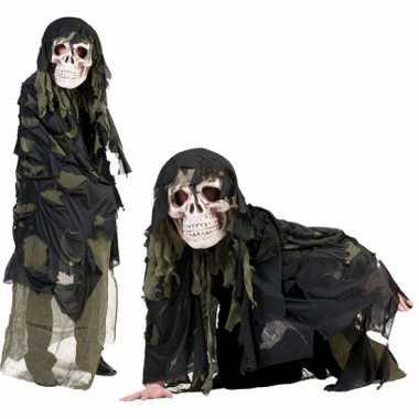 Legergroen doodshoofd spook verkleedkleding